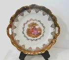 STW Bavaria Germany 24K Heavy Gold Gilt Handled Love Story tray Cake Plate
