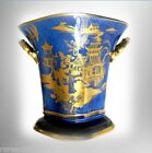 Carlton Ware large vase in celestial blue and gold oriental scenes - FREE SHIP