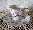 VINTAGE DEMITASSE BRIGHT FLORAL CUP AND SAUCER Japan
