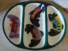 LARGE HAND PAINTED CERAMIC 3 SECTION SERVING PLATTER COLORFUL FISH