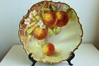ANTIQUE LIMOGES FLAMBEAU LDBC HAND PAINTED PEACHES CABINET PLATE ARTIST SIGNED