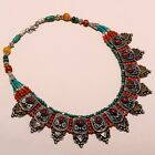TIBETAN SILVER NEPALI TURQUOISE AMBER CORAL ANTIQUE NECKLACE 119.60 Gms