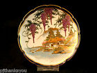 Vintage Japanese Ceramic Decorative Plate Wisteria & Mountain Signed