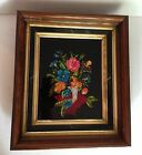 Antique Reverse Glass Painted Tinsel Art Picture with Antique Wooden Frame