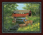 Covered Bridge Deer Doe Buck Nature Scenic Cotton Fabric Wallhanging PANEL