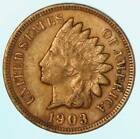 Full Liberty 1903 Indian Head Cent Early US Copper Penny Coin Lot A874