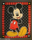 Mickey Mouse Polka Dots & Stripes QUILT TOP PANEL Wall Hanging COTTON FABRIC