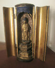 ANTIQUE JAPAN BUDDHA ZUSHI TRAVELING ALTAR SHRINE LACQUERED HAND CARVED WOOD BOX