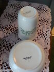 SEMI-PORCELAIN THE E.P.P. CO CUP AND SOAP DISH - WHITE WITH GREEN FLOWERS