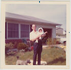 Square Vintage 70s PHOTO Man Holding Baby Girl w Poodle At Feet