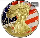 2014 1 Oz 999 Bullion Silver American Eagle Coin With Gold Gilding And Colorized