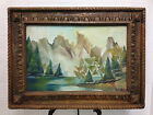 Chinese landscape original Mecal vintage big 48 X 36 gothic frame oil painting