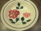 BLUE RIDGE SOUTHERN POTTERIES, 9 INCH SERVING BOWL, RED & PINK FLOWERS, EUC