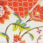 JACOBEAN FLORAL & VINE QUEEN QUILT 4pc SET LIME TEAL PINK ORANGE RED YELLOW FULL
