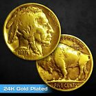 GOLD BUFFALO NICKEL - FULL DATE 24K GOLD PLATED Buffalo / Indian Head Nickel