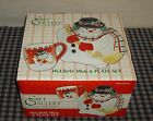 Fitz and Floyd Holiday Mug and Plate Set SNOWMAN # 800/7 NEW in BOX