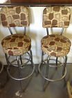 Mid century modern brown and silver bar stools, set of 6