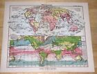 1931 ANTIQUE MAP OF THE WORLD / OCEAN CURRENTS / TRANSPORT / POLITICAL PHYSICAL