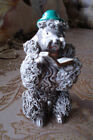 SITTING GREY SPAGHETTI POODLE~GREEN HAT~READING BOOK~JAPAN~VINTAGE~CERAMIC