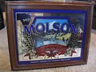 Vintage Wood Frame Bar Mirror Colorful Sign Molson Imported From Canada Beer Ale