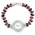 Sterling Silver 925 Marquise Faceted Emerald, Sapphire & Pink Ruby Watch 71/2 In