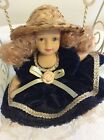 Porcelain Doll With Velvet Navy Dress, Hat,On a Metal Swing,Moveable Legs,Arms