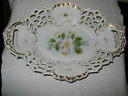 PORCELAIN FRUIT/BREAD DISH OR BOWL FLOWERS AND GOLD TRIM MADE IN GERMANY