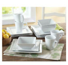 32 Piece Square Porcelain Dinnerware Set Dinner Salad Plates Bowls Mugs - WHITE