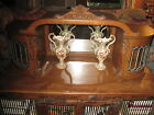 Antique Oak Cabinet Mirrored,Leaded Curved Glass Display Case Table or Wall Hung