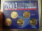 2003 Gold Layered 5 Quarter State Coin Set with COA