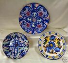 3 Vintage Hand-Painted Decorative Plates w/ Floral & Bird Designs- Made in Spain