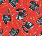 Quilt Fabric Windham Bye Bye Birdy Retro Telephones  FREE SHIPPING