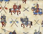 Quilt Fabric RJR Enchanted Kingdom Knights Horses Flags Swords FREE SHIPPING