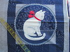 Cranston cotton fabric panel Navy Blue silhouette cat kitty pillow blocks 14