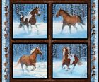 4 Horses Approaching Storm Pillow Panels Fabric Cotton Wildlife
