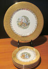Atlas China Warranted 22K Gold Victorian Scene 1 Dinner & 5 Bread Butter Plates