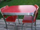 1950's CHILD SIZE Retro Vintage Red Formica Kitchen Table and Chairs