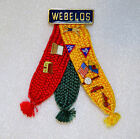 Vintage WEBELOS Boy Scouts BSA Three Ribbon Pin with 9 Merit Badge Pins