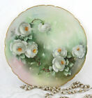 Antique Hand Painted Roses Artist Signed Limoges France Plate Jean Pouyat Mark