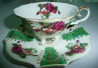 UCAGCO Japan Fine China Roses Footed Green Tea Cup and Saucer Set Collectible