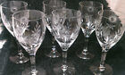5 plus one etched wine glasses cornflowers and leaves