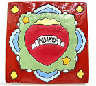 VTG HANDPAINTED CERAMIC TILE W/ STARS, FLOWERS AND A HEART WITH THE WORD ALWAYS