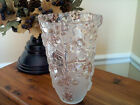 ORIGINAL WALTHERGLAS Satin Rose Vase Frosted Pink Clear Cut Glass Germany