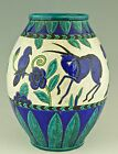 Charles Catteau Keramis Art Deco vase with gazelles and birds Kioto Belgium 1924