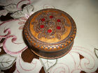VINTAGE ROUND CARVED WOOD BOX & LID WITH METAL INLAY FINE CRAFTSMANSHIP