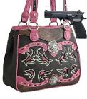 BROWN PINK BLING RHINESTONE CONCHO CONCEALED CARRY WEAPON GUN WESTERN PURSE NEW
