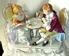 Antique Figurine Man Lady Gambling on Love Detailed Lace Ruffles Gold Trim