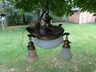 Vintage Hanging Brass Ceiling 4 Light Fixture Chandelier With Tulip Glass