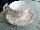 Royal Malvern Bone China Teacup and Saucer White Gold Lace