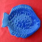 Figural Fish Plate Blue Embossed 10 Inch Home Studio Coastal Collection